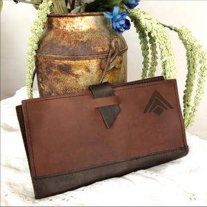 Handbags - Leather Distressed Wallet Billfold Document Holder